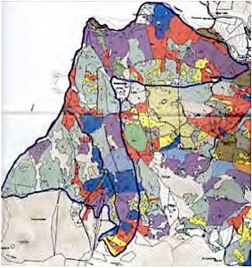 """Revierkarte: Abgrenzung des Untersuchungs- gebietes """"Hühnersbach"""" auf der Forstkarte (Altersklassenkarte)"""